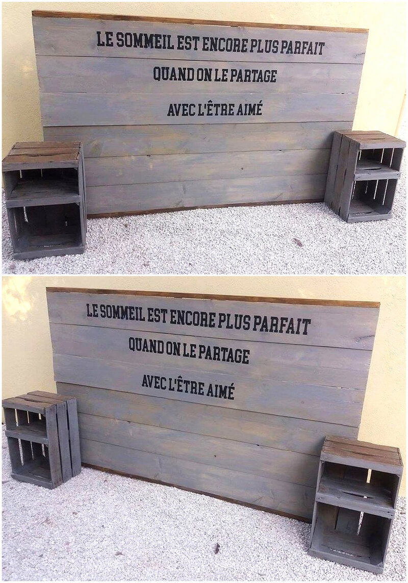 wooden pallets headboard with side tables