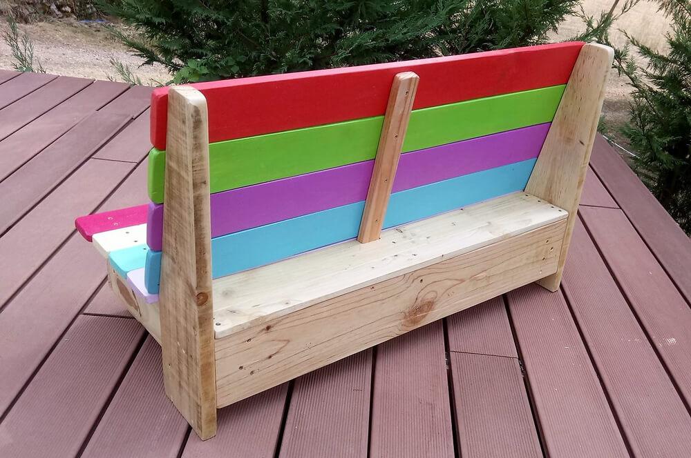 wooden pallets kids bench