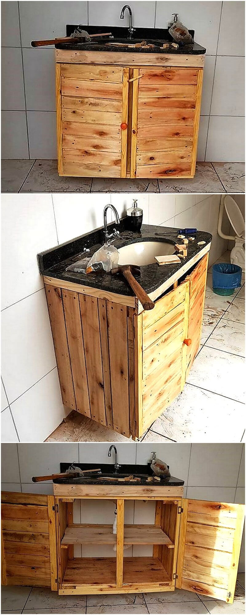 wooden pallets sink cabinet