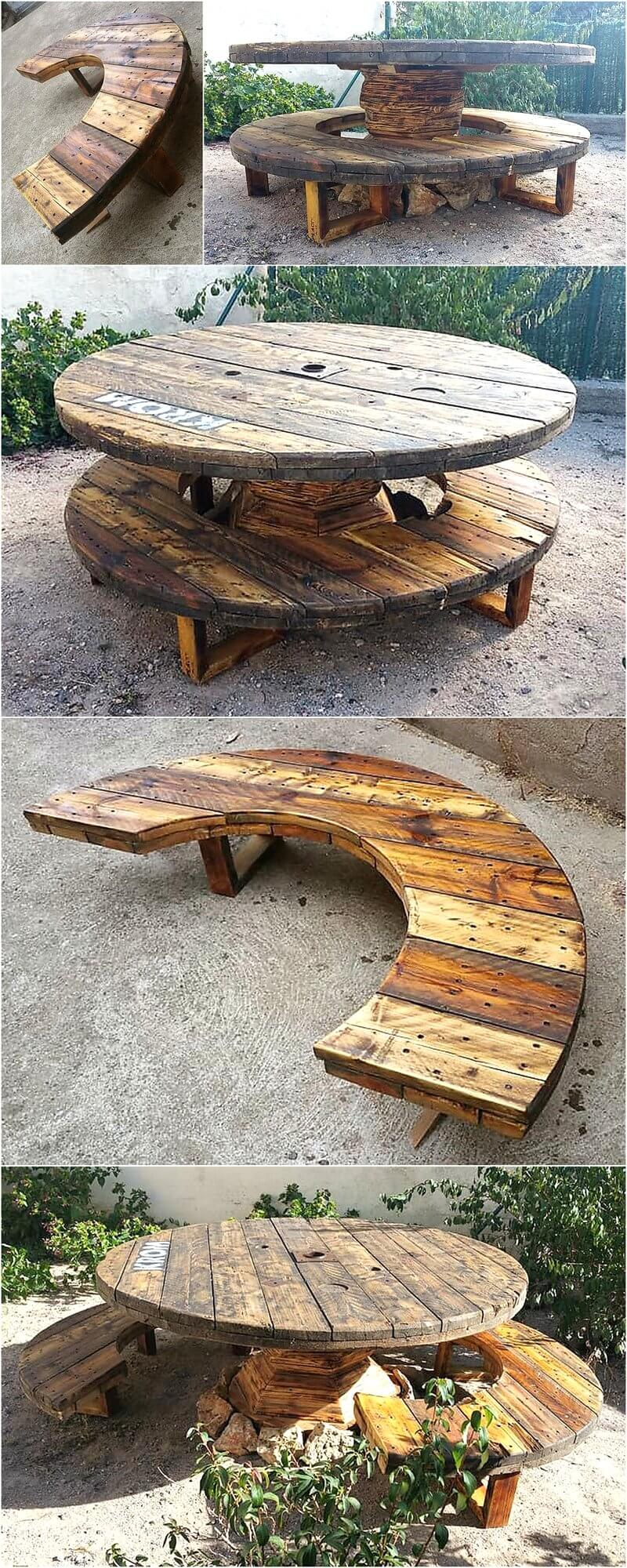 Recycled pallets cable reel patio furniture idea wood