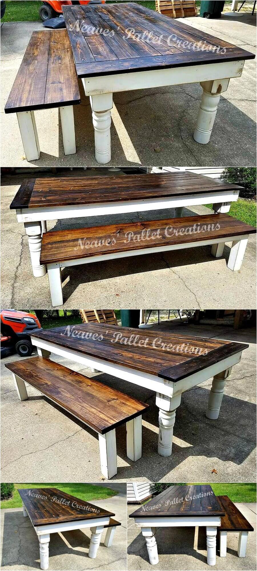 Repurposed Pallets Wood Large Dining Set