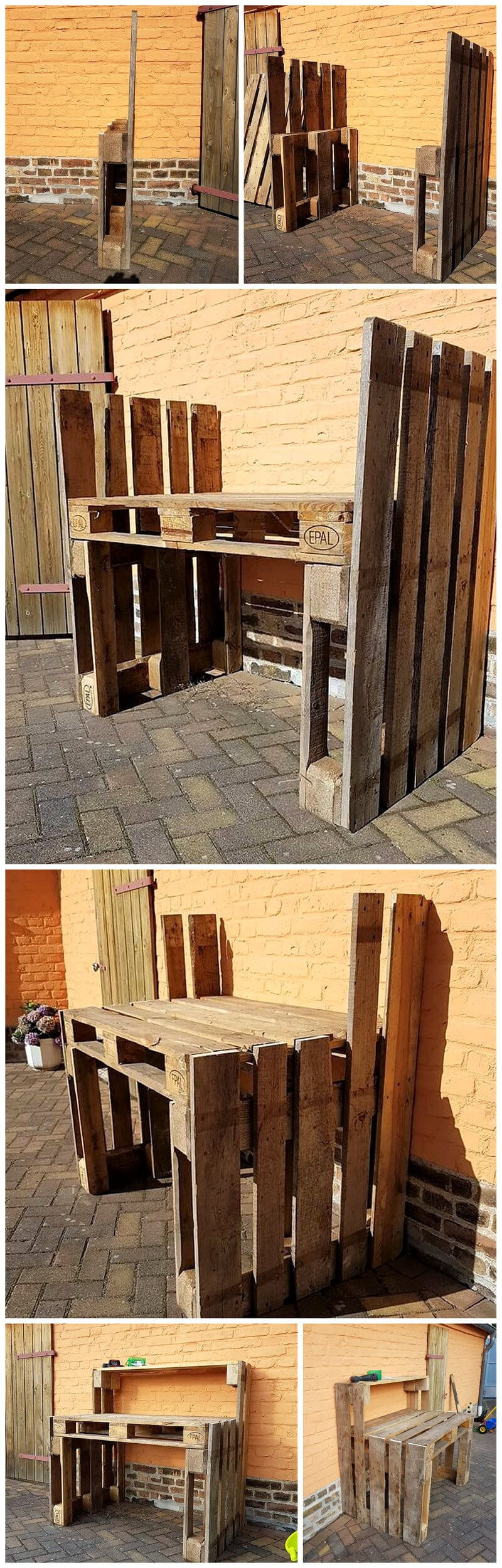 diy pallets wood potting table