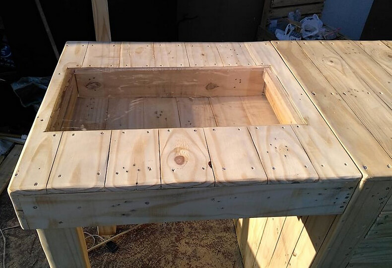 diy wood pallets garden bar table 9