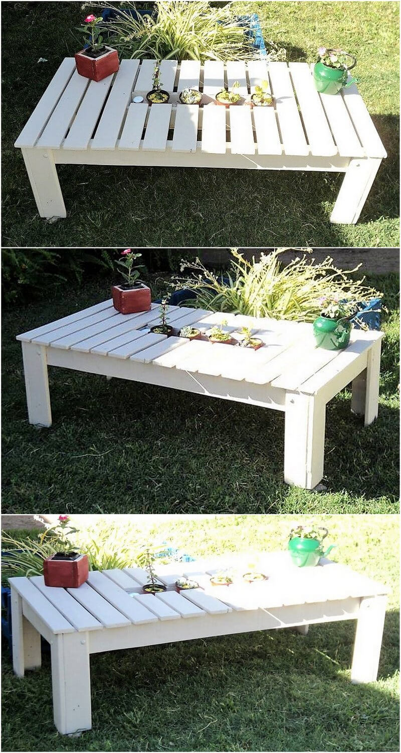outdoor garden tabel made with pallets