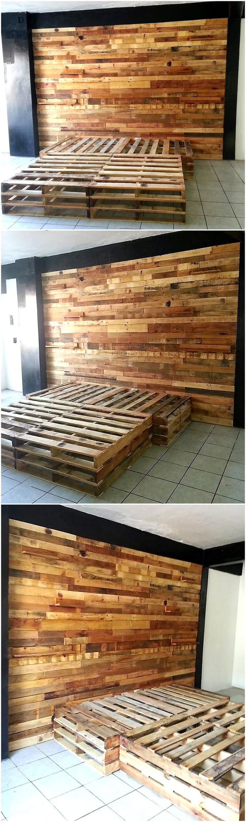 pallet bed with headboard wall art