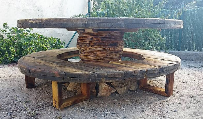pallet cable spool patio furniture