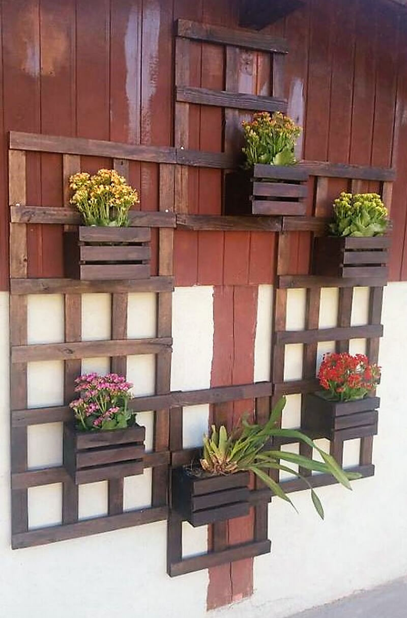pallet wooden wall decor pots stand