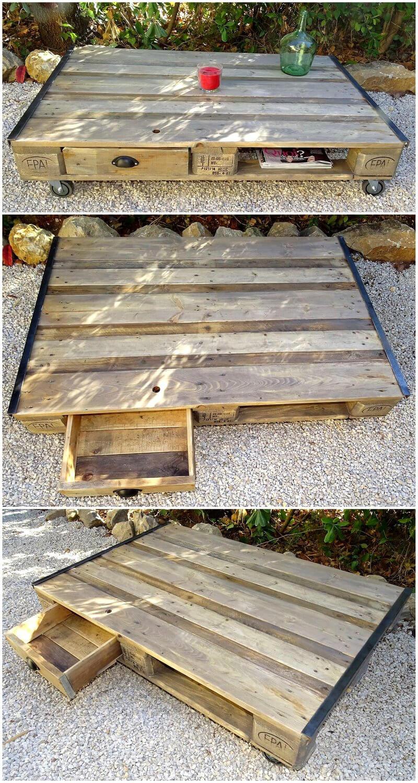 pallets garden table on wheels