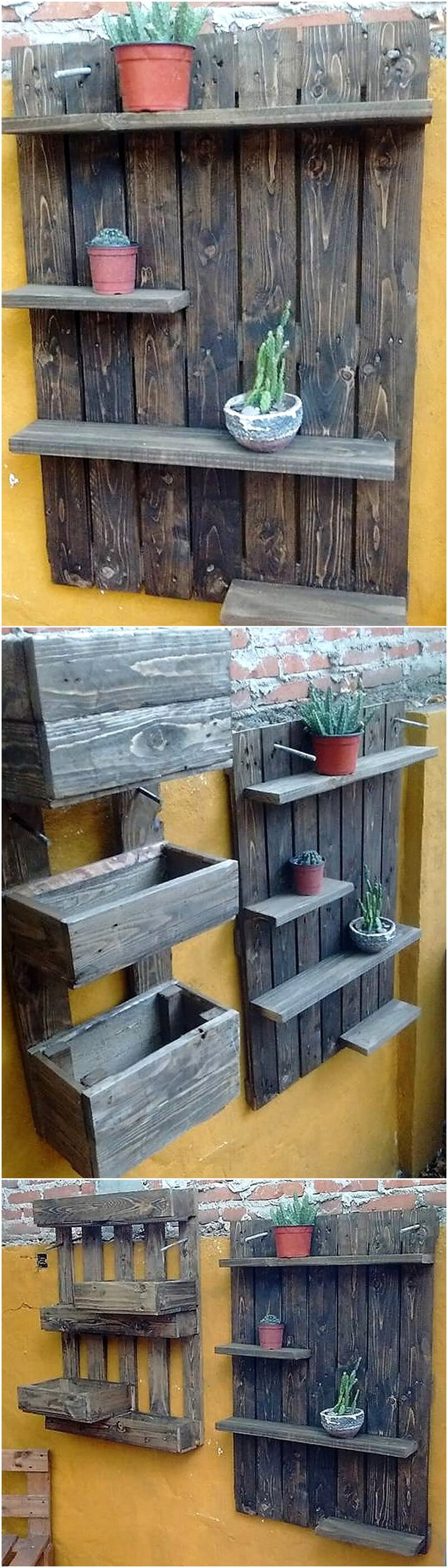 pallets planter and pots stand for wall