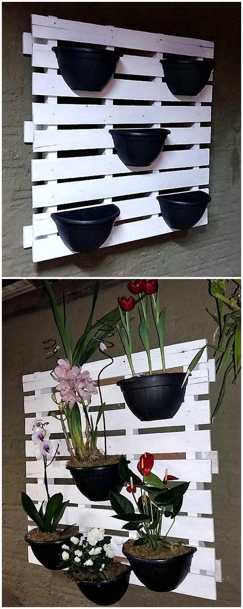 pallets vertical pots stand idea