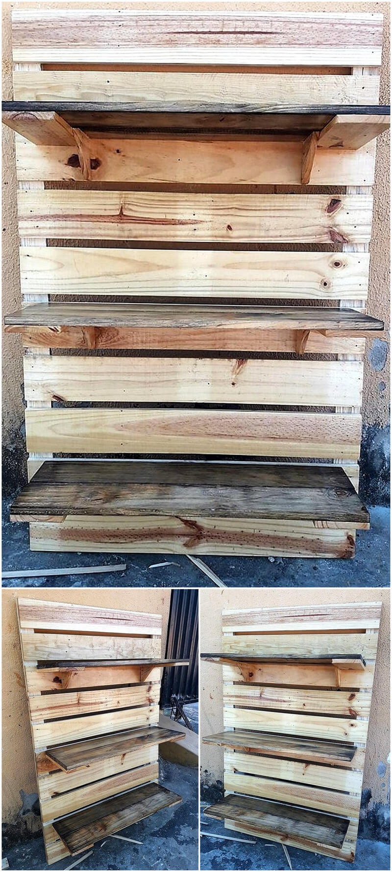 pallets wall shelving rack