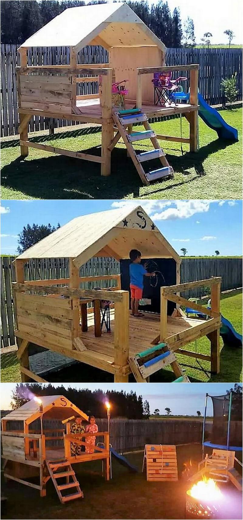 pallets wooden kids playhouse for garden