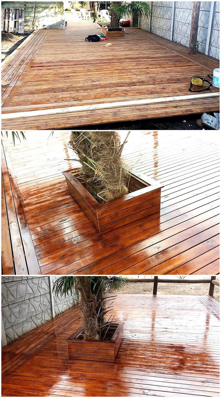 pallets wooden patio garden deck