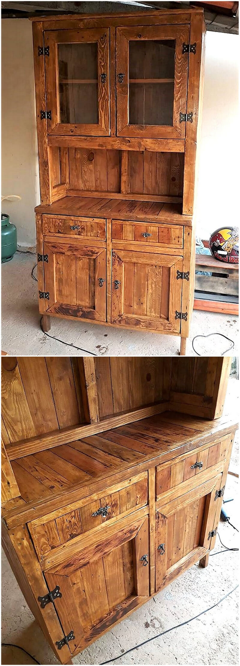pallets wooden rustic storage cabinet