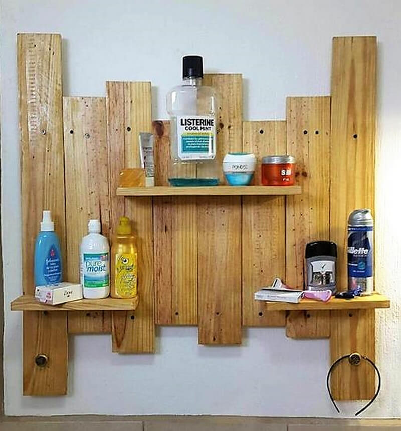 pallets wooden shelf