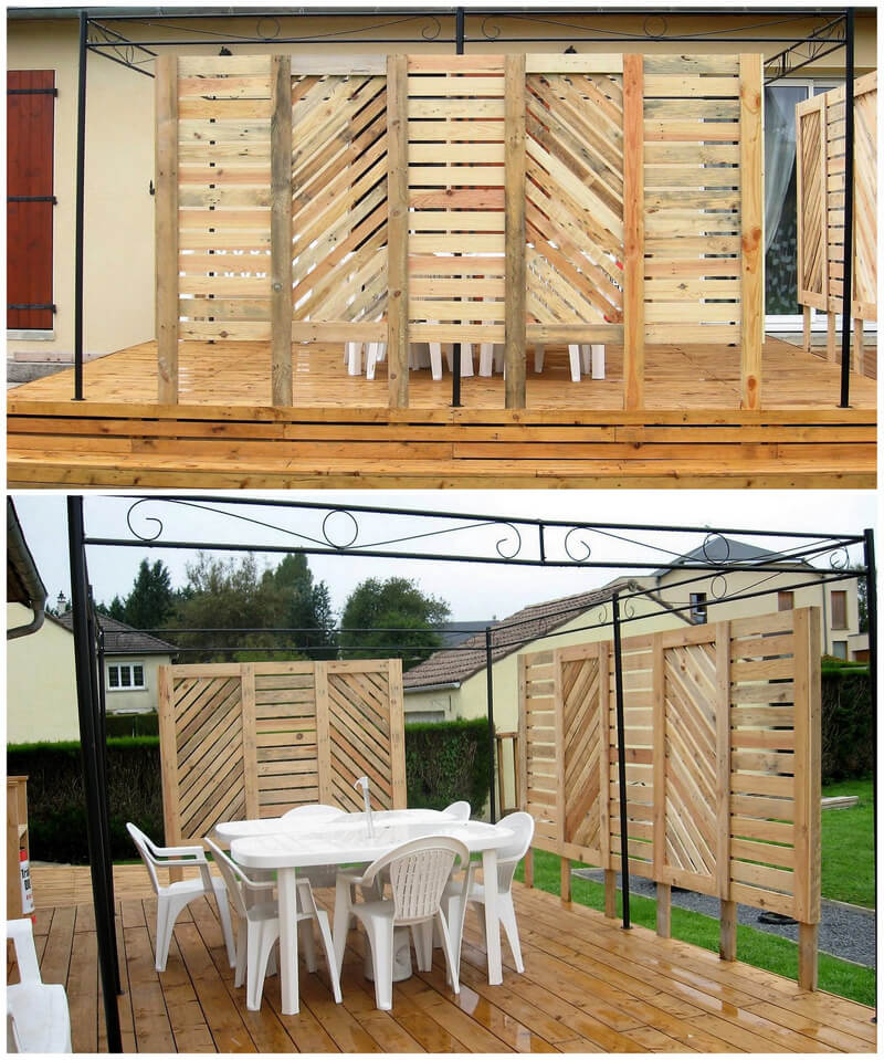 Find these interesting ideas for pallets recycling wood for Wood pallet privacy walls