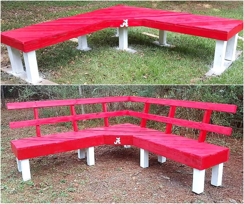 recycled pallets patio bench idea