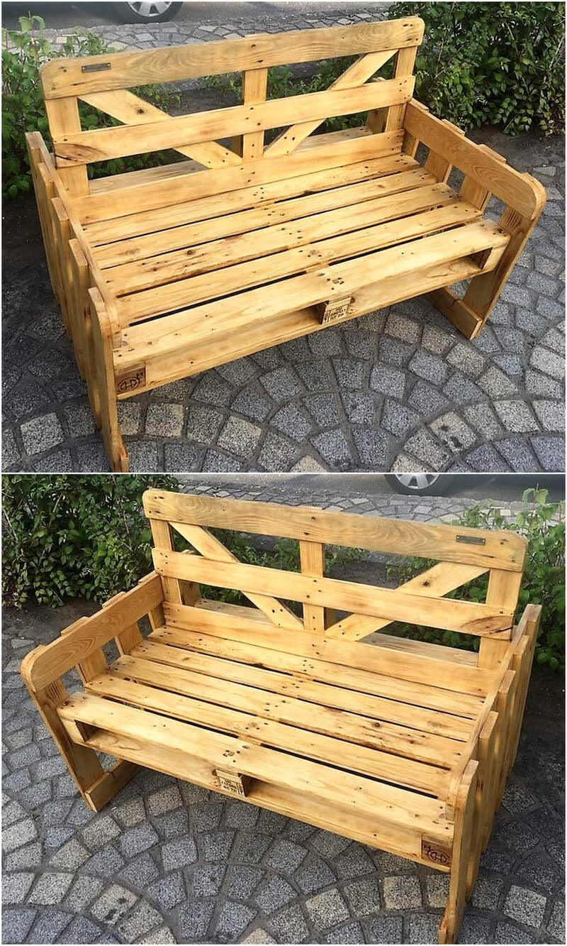 recycled wooden pallets patio bench
