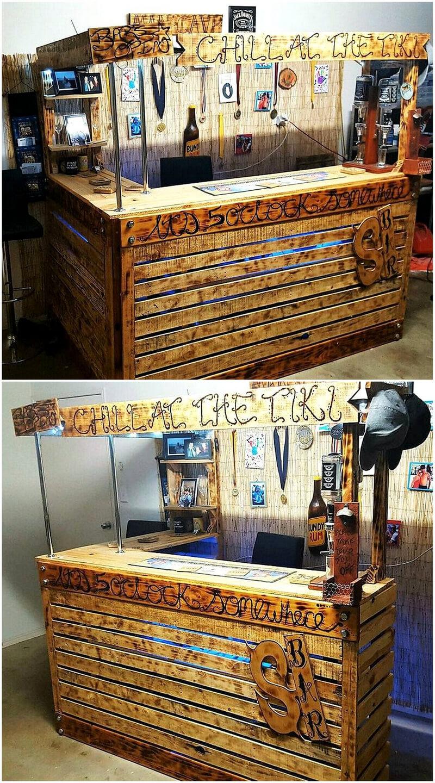 repurposed wood pallet bar