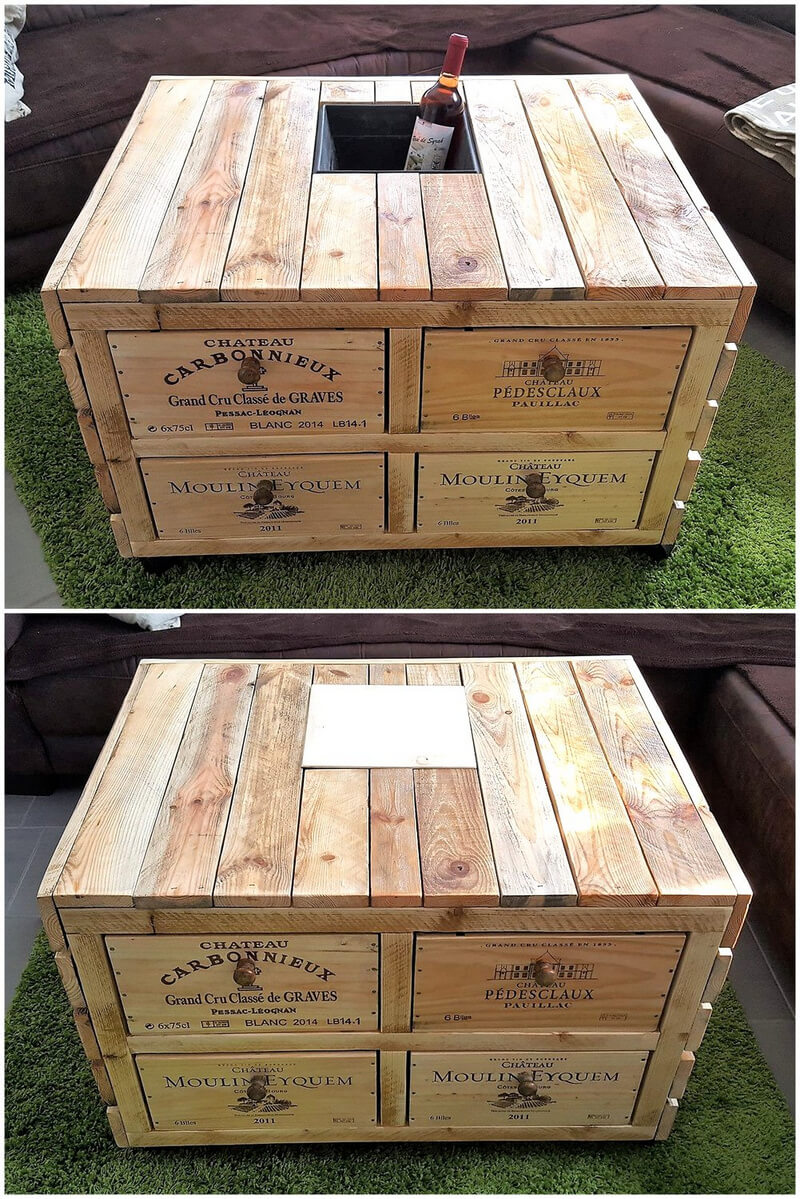 repurposed wooden pallets table