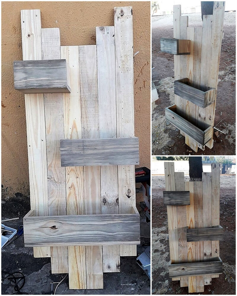 reused pallets wooden shelf art