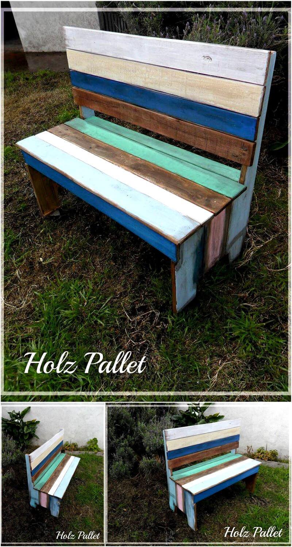 rustic pallet garden bench