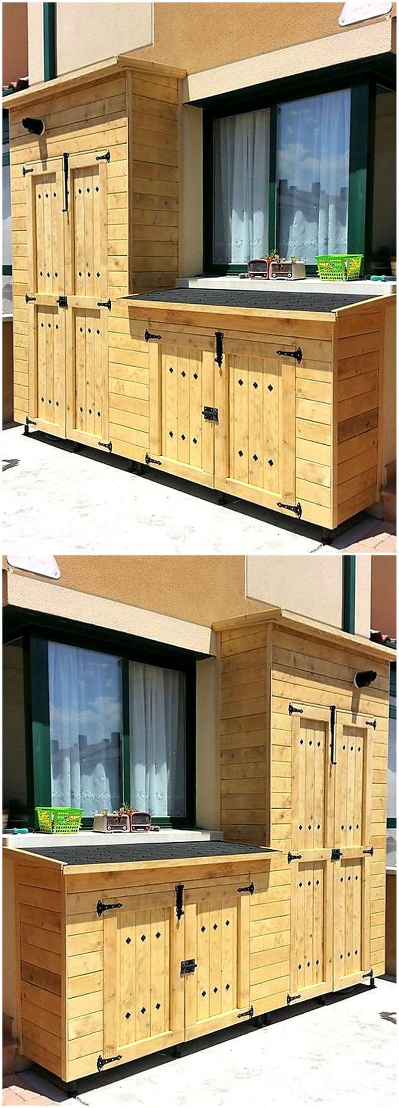 wood pallet patio storage cabinet