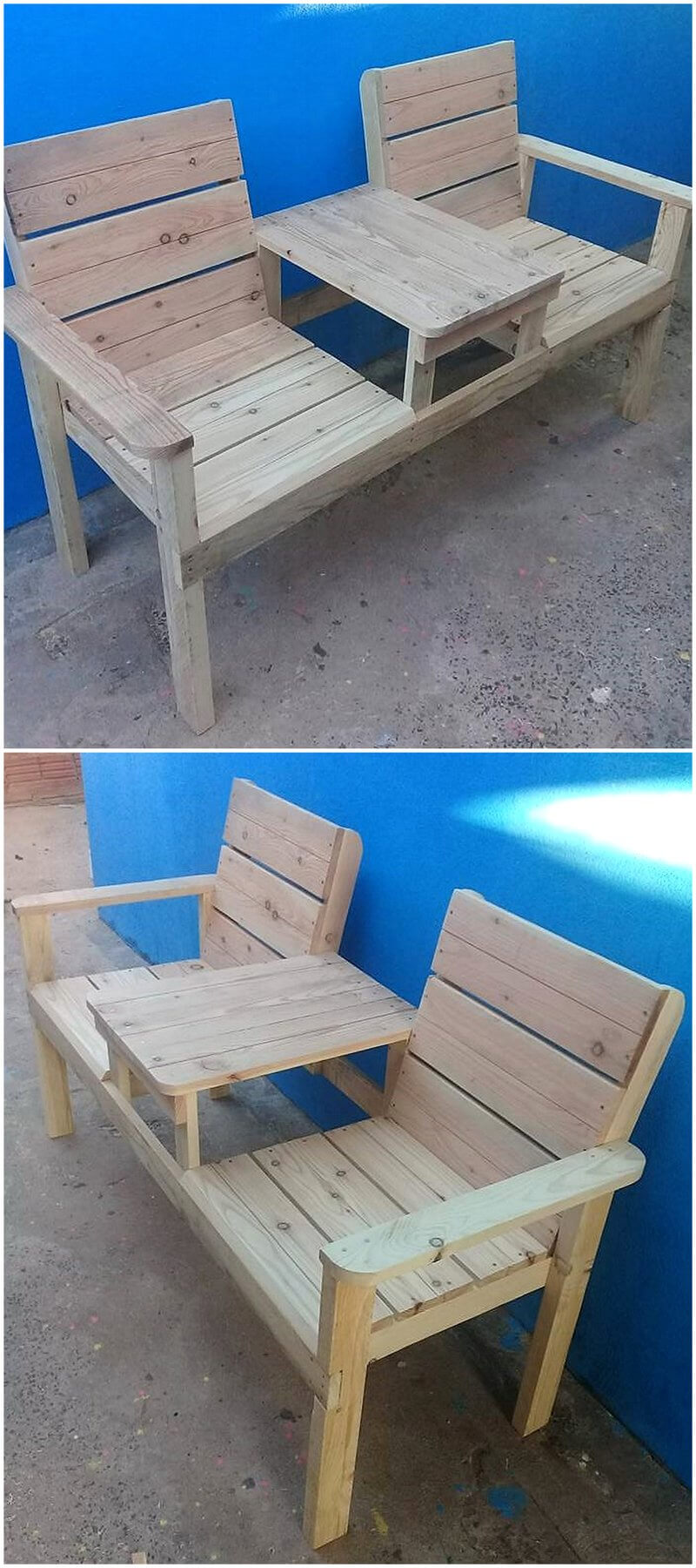 wooden pallets patio bench
