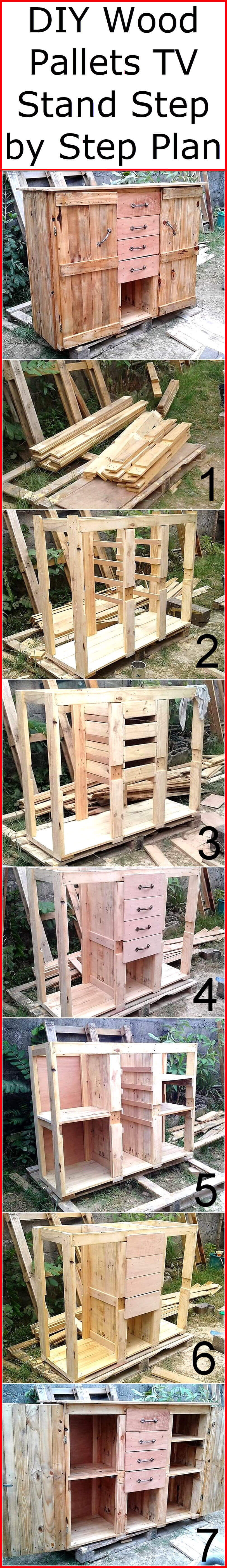 diy wood pallets tv stand step by step plan wood pallet