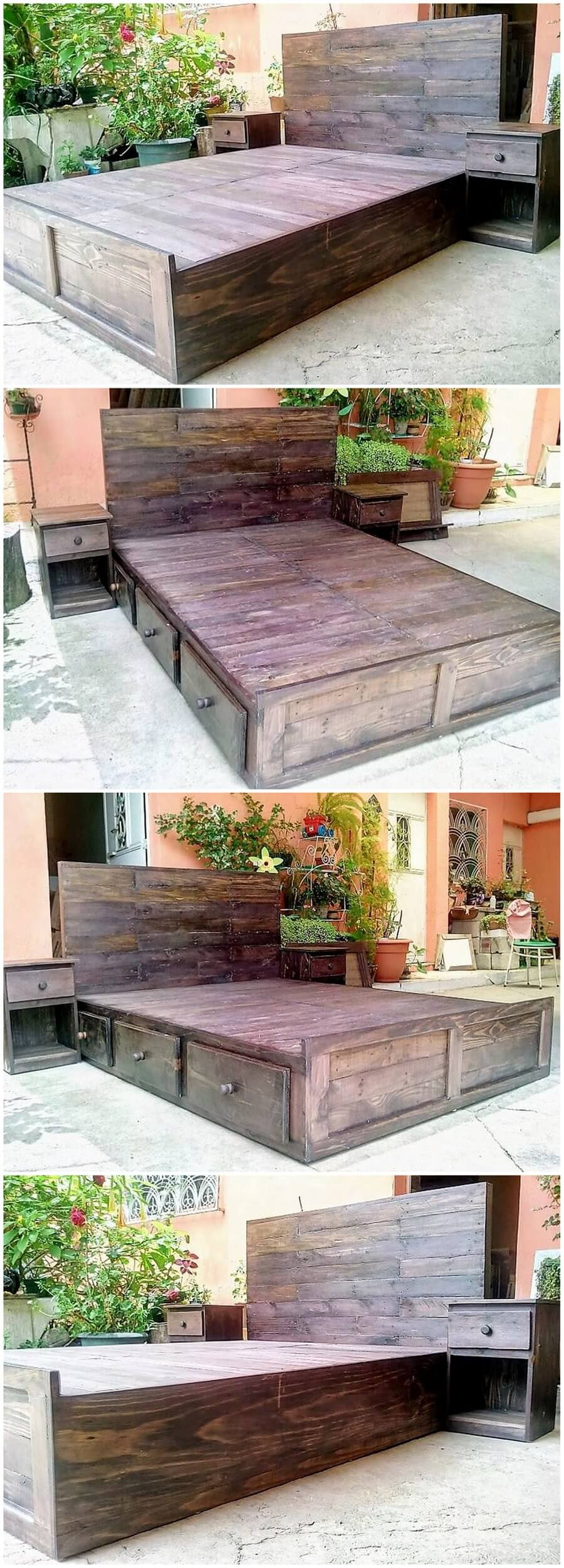 Reused Wood Pallets Bed Giant Bed Plan