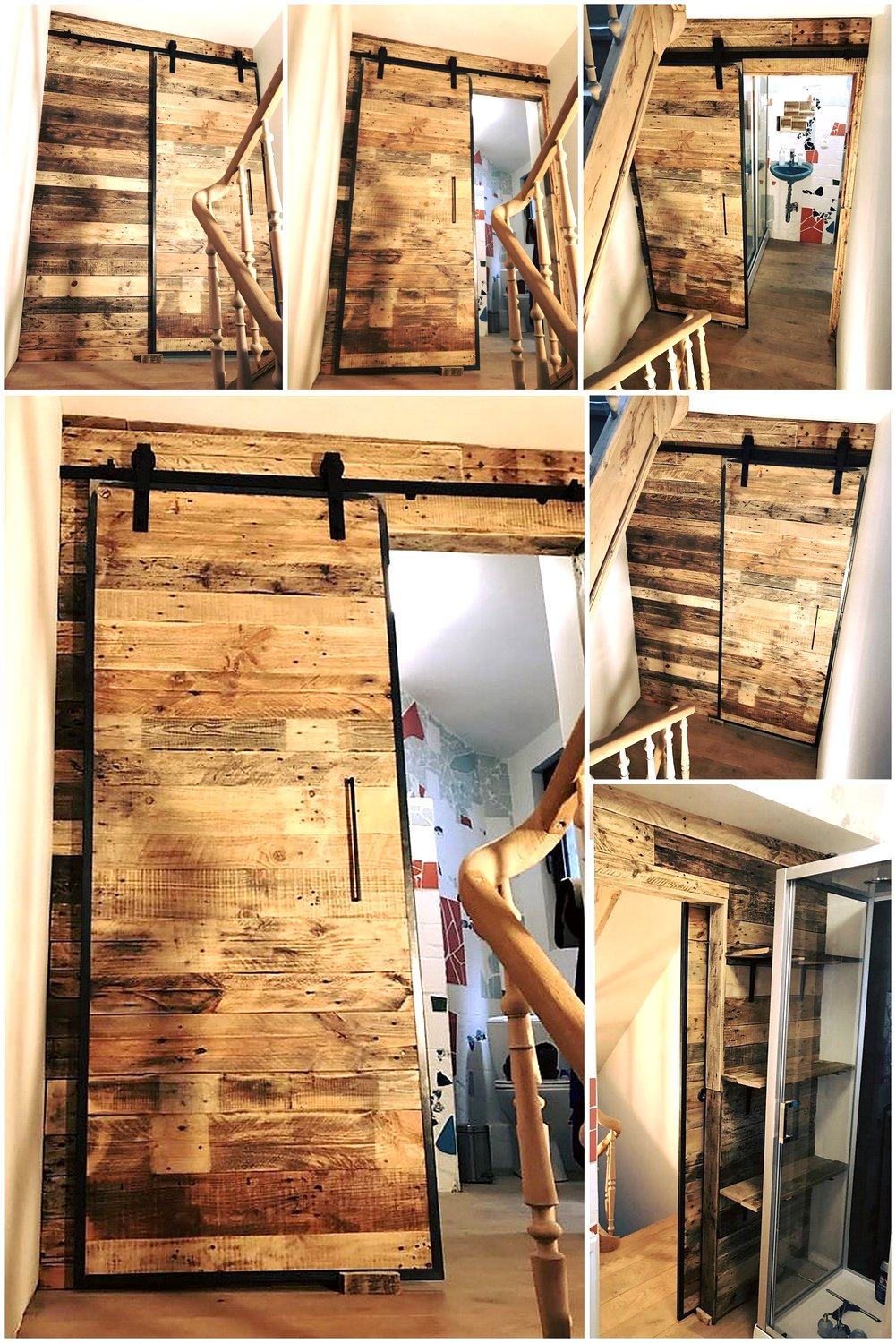 Wood pallets wall art and sliding door for bathroom wood for Pallet shower wall