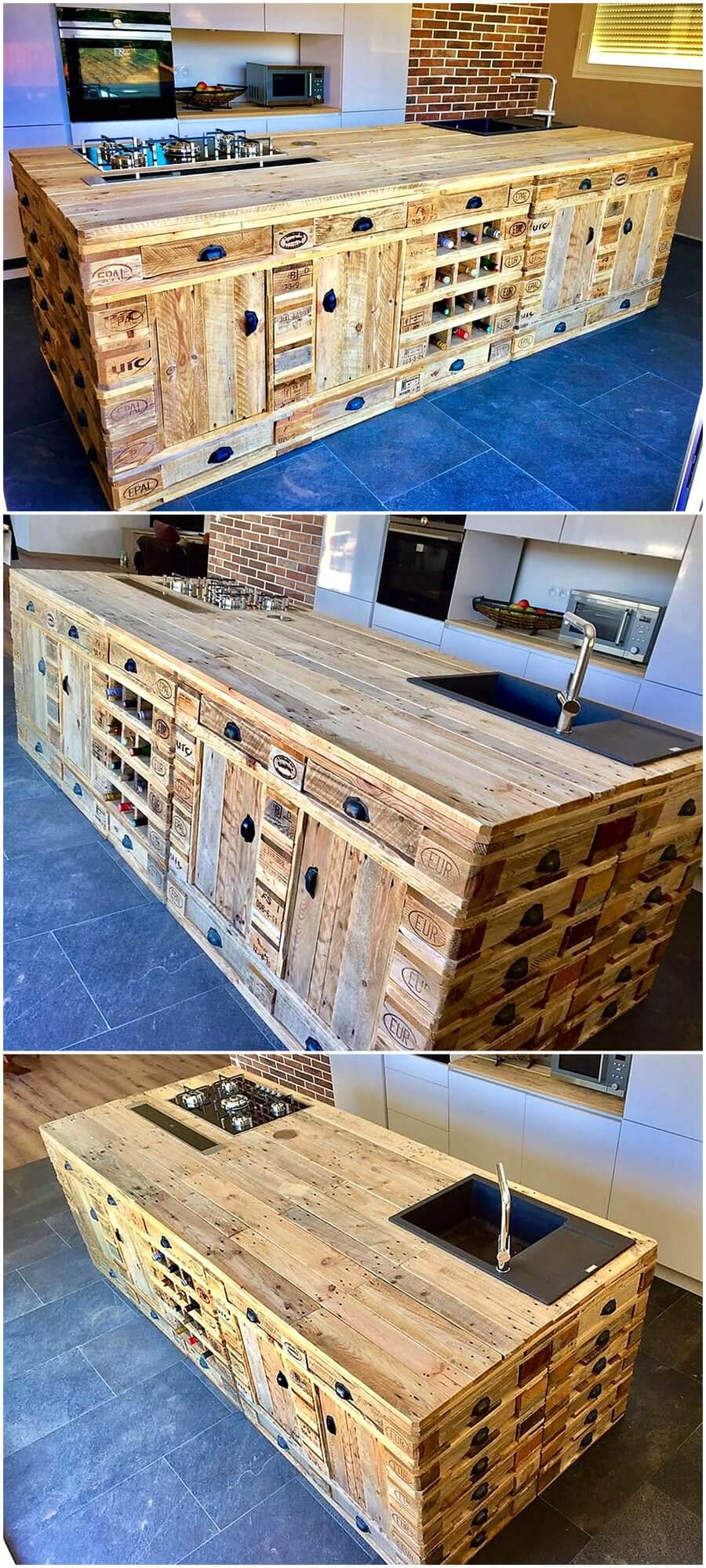 wooden pallets repurposed kitchen island wood pallet
