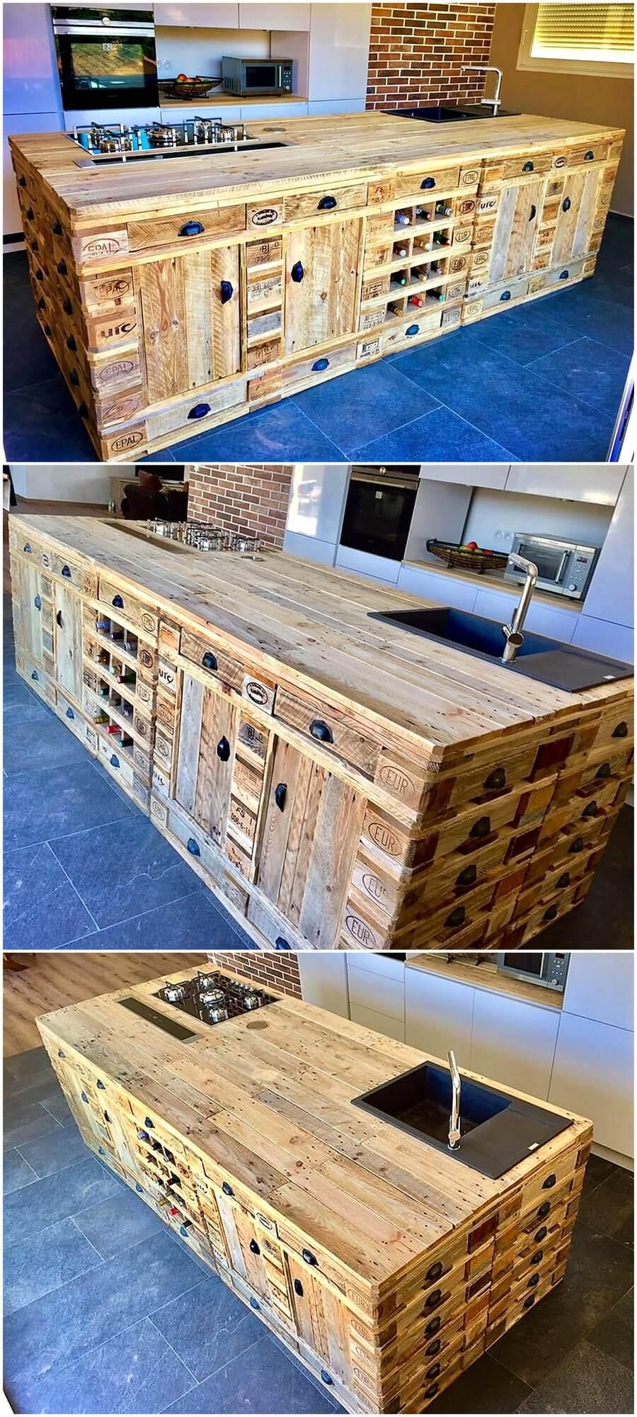 wooden pallets repurposed kitchen island wood pallet