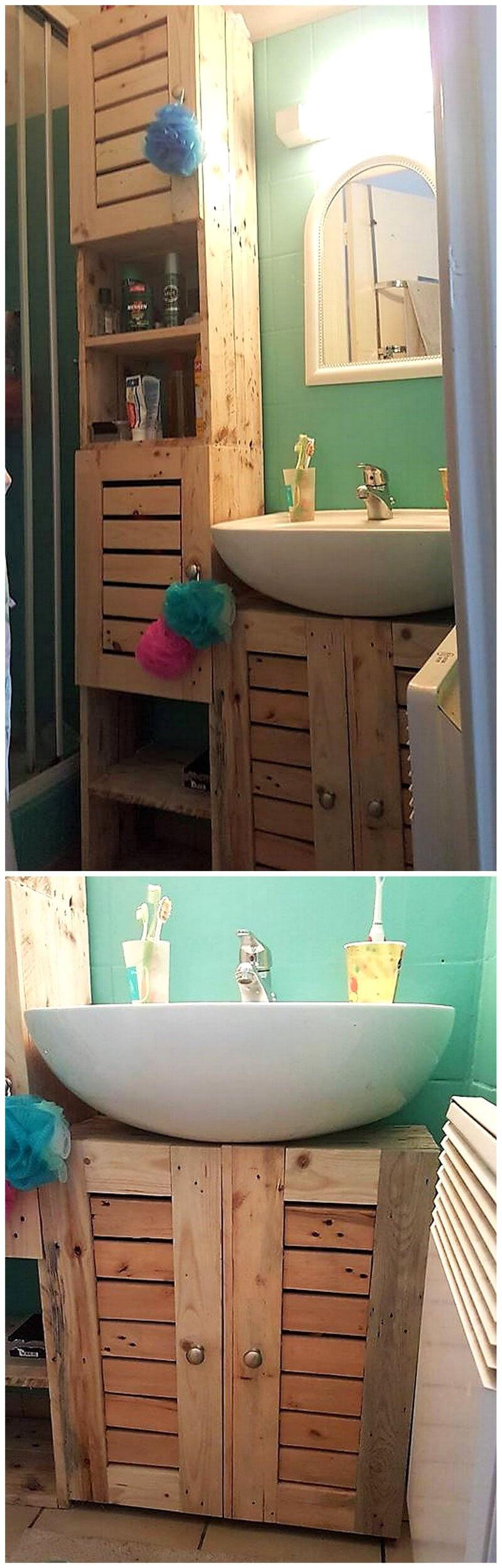 bathroom storage idea with wood pallets