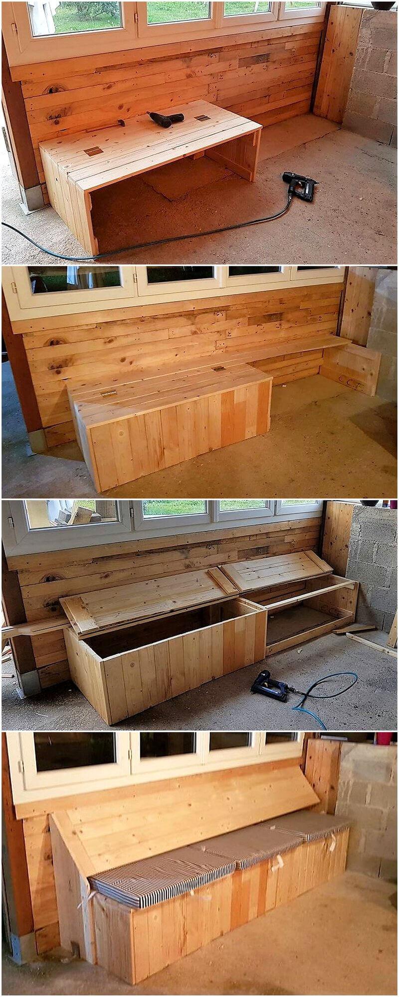 Diy Wooden Pallet Sofa Seat With Storage