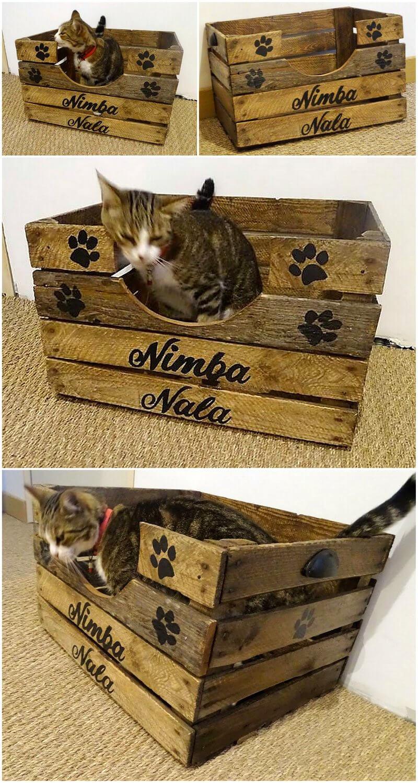 pallet fruit crate cat bed idea