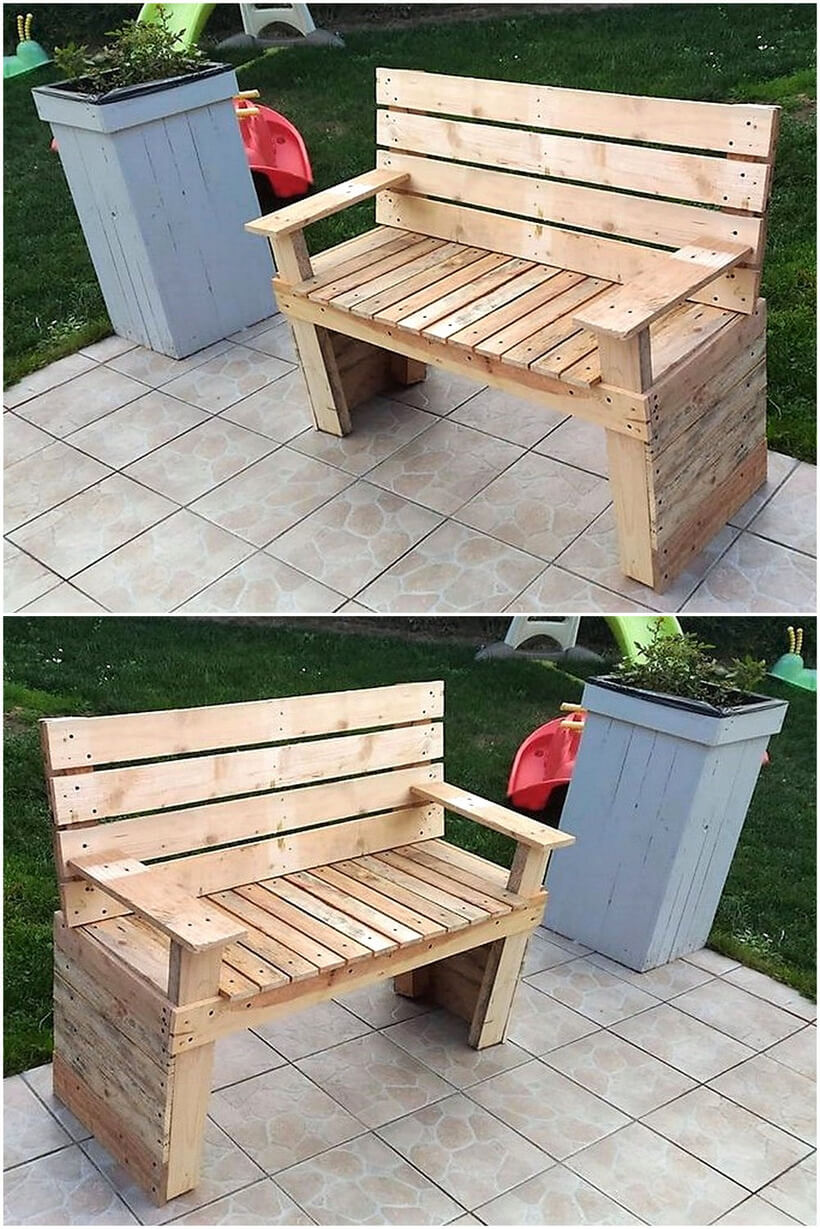 pallet garden bench with planter