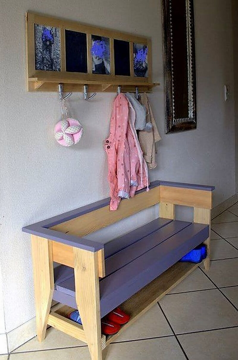 pallet shoe rack bench and wall cloth hanger
