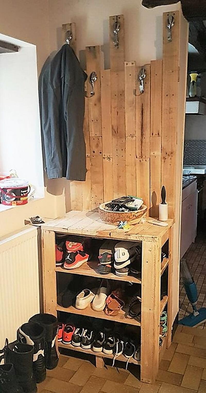 pallet shoe rack cum cloths hanger