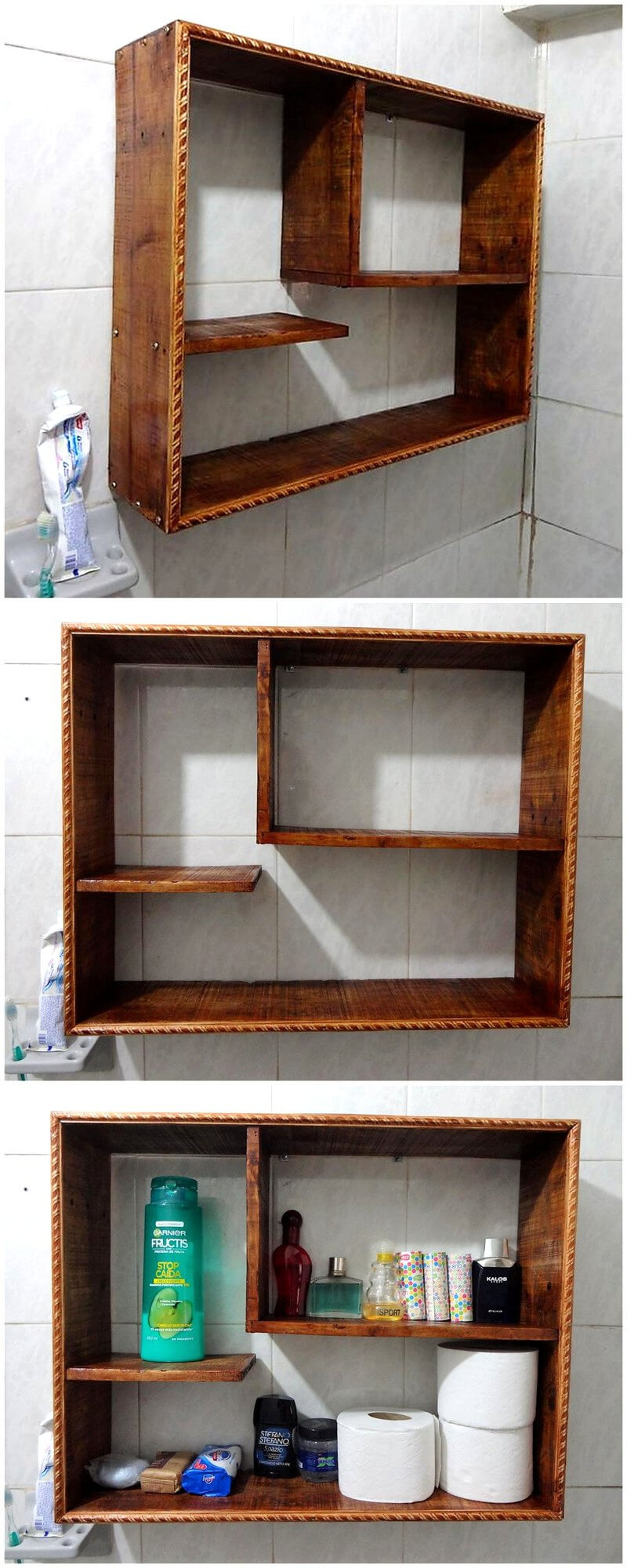 Simple and creative ideas for wood pallet recycling wood for Bathroom ideas made from pallets