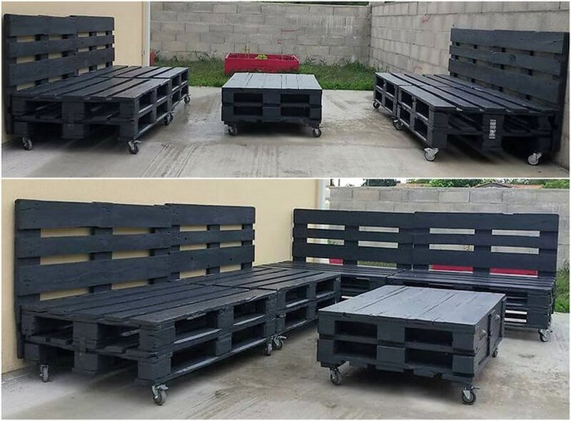 pallets patio lounge on wheels
