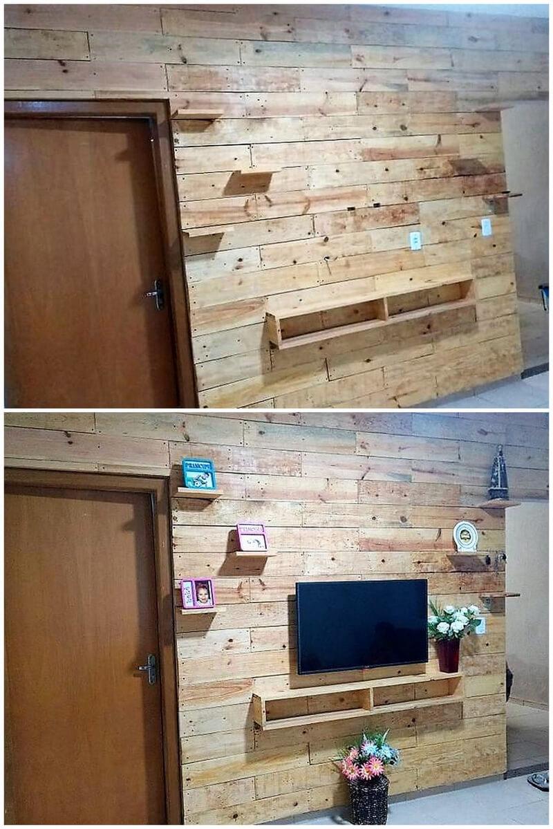 pallets tv stand wall art