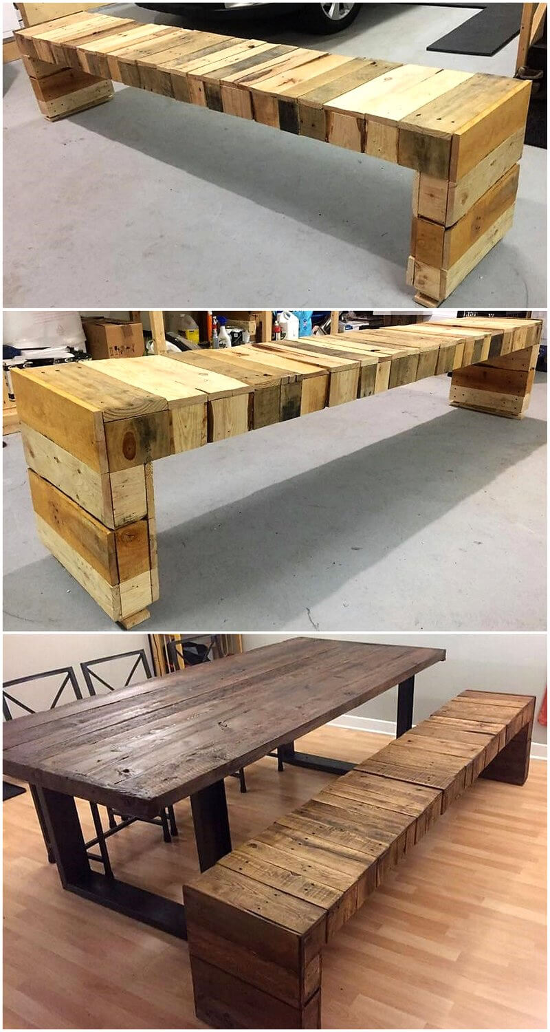 pallets wood dining table bench