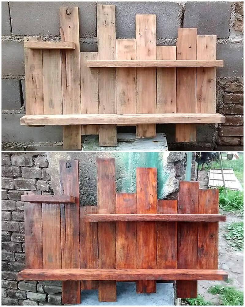 pallets wooden shelving art
