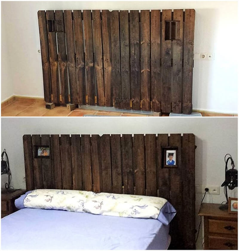 recycled pallet bed headboard idea