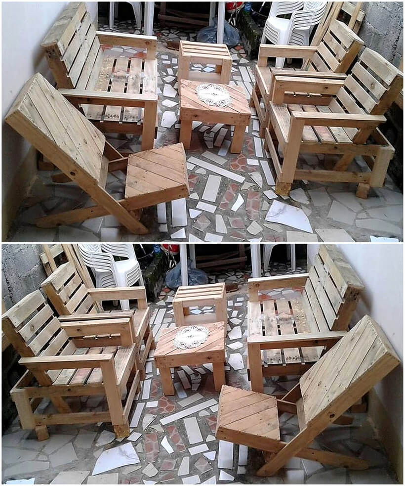 recycled pallet patio chairs