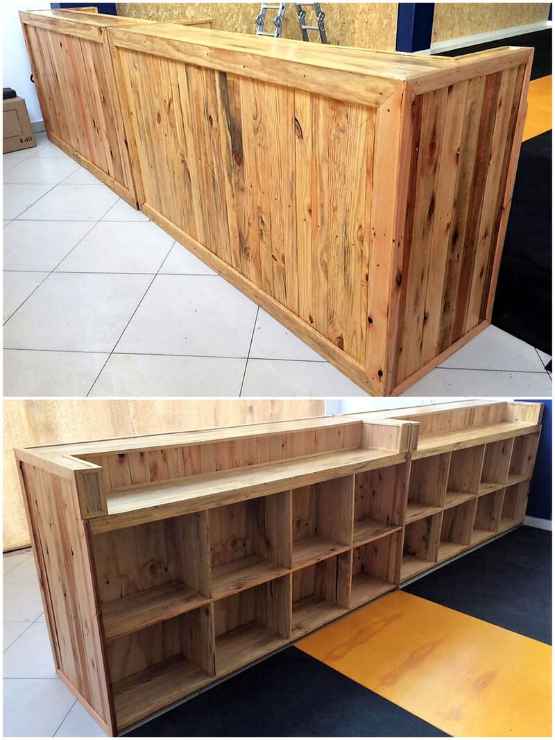 recycled wood pallet bar counter