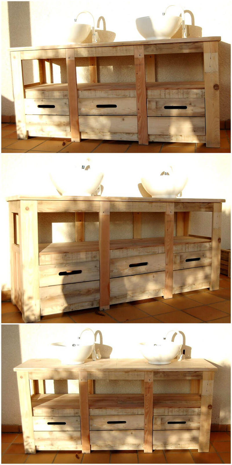 recycled wood pallet sink