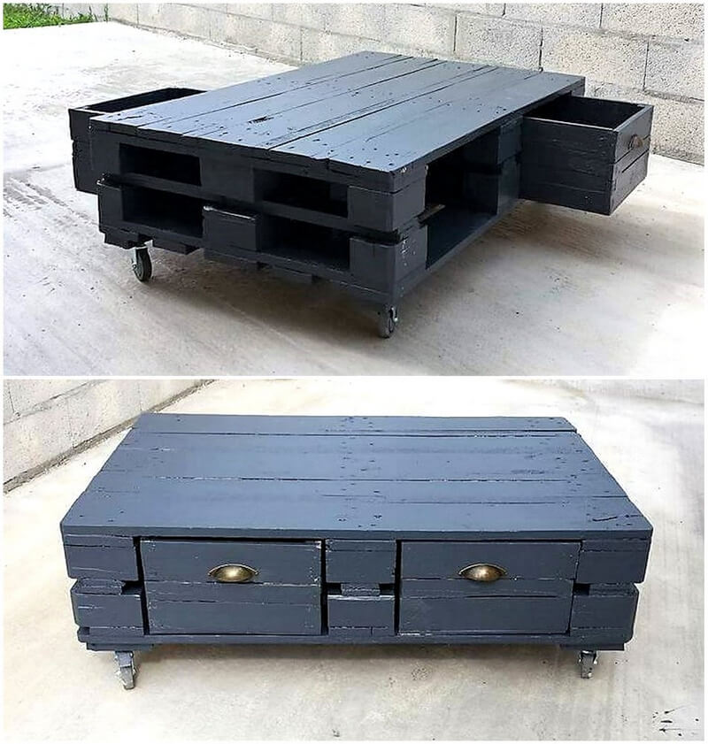 recycled wood pallet table on wheels