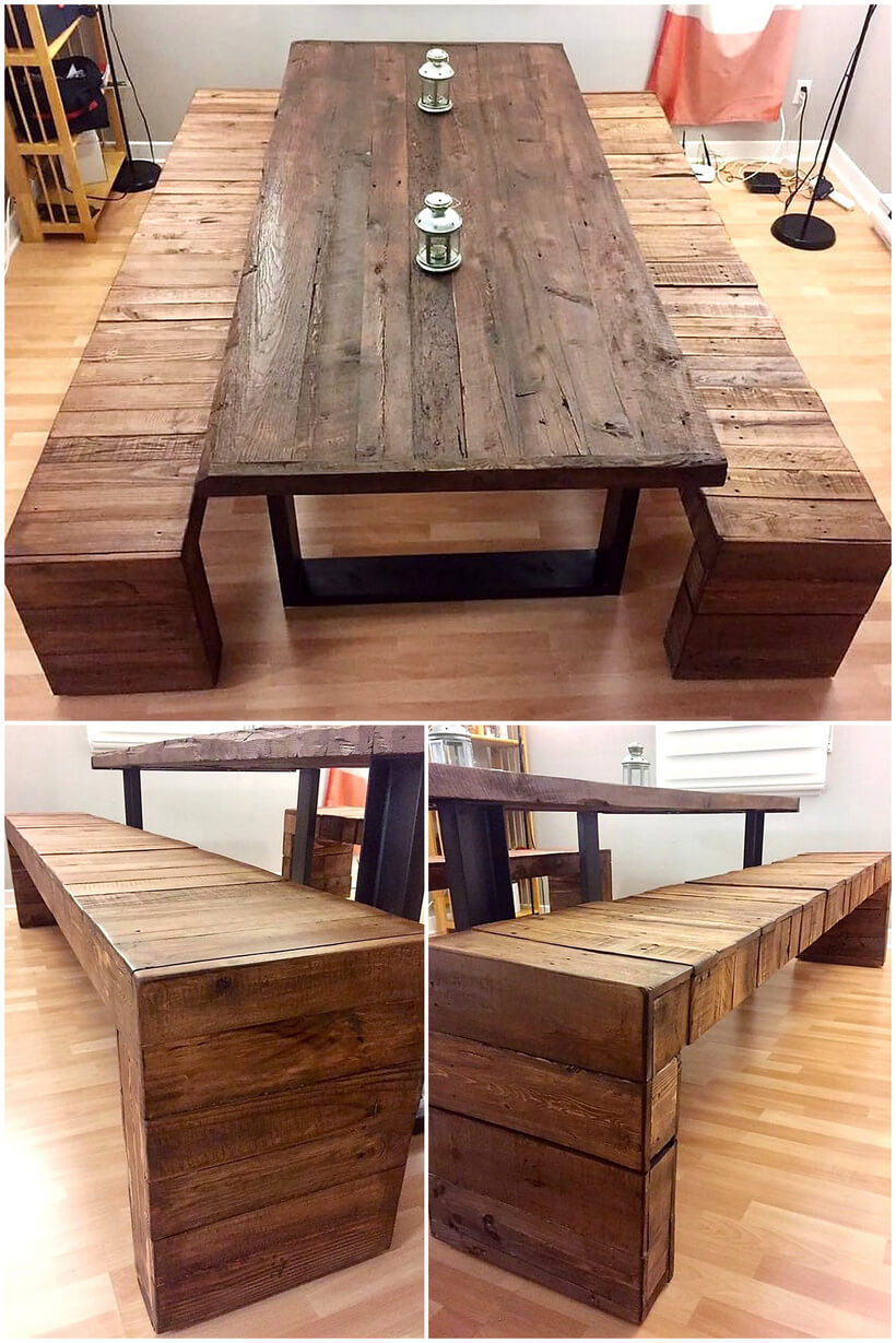 recycledp pallet wood dining set